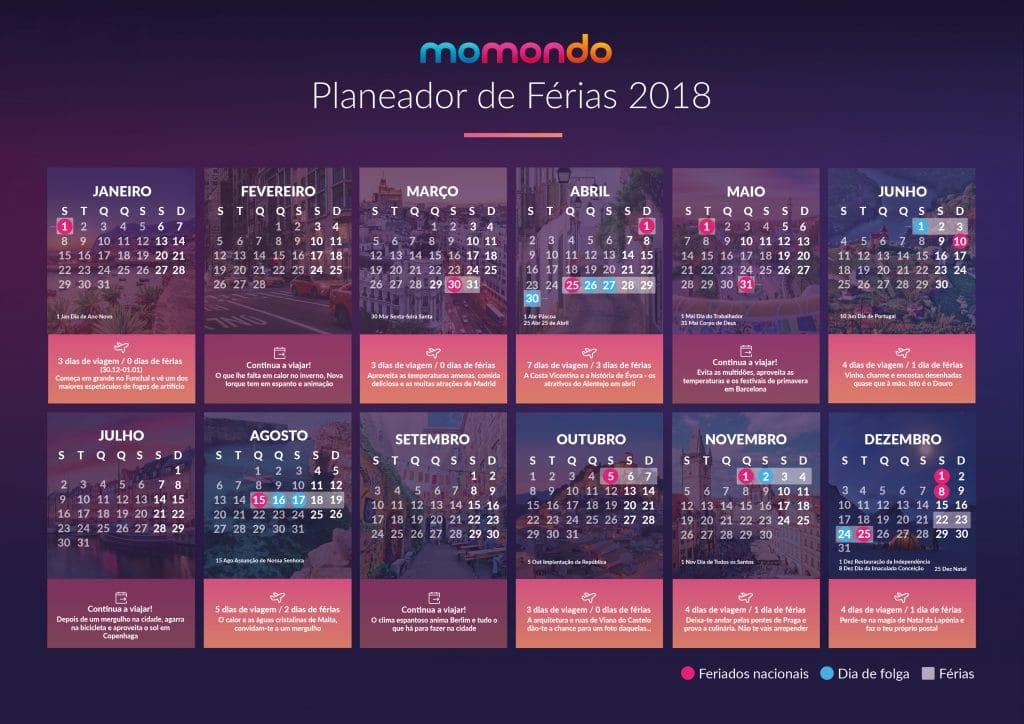 Calendário de Feriados 2018