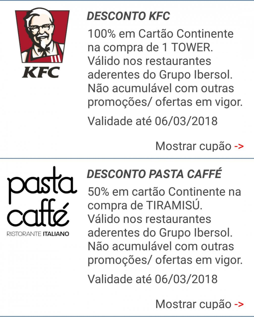 iBonus – KFC e Pasta Caffé