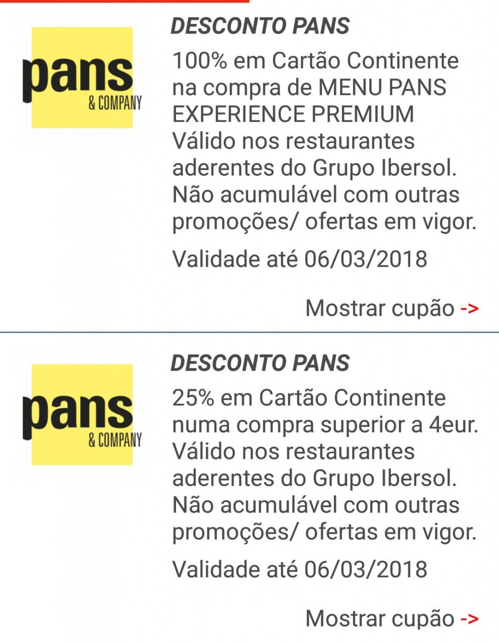 iBonus – Pans & Company