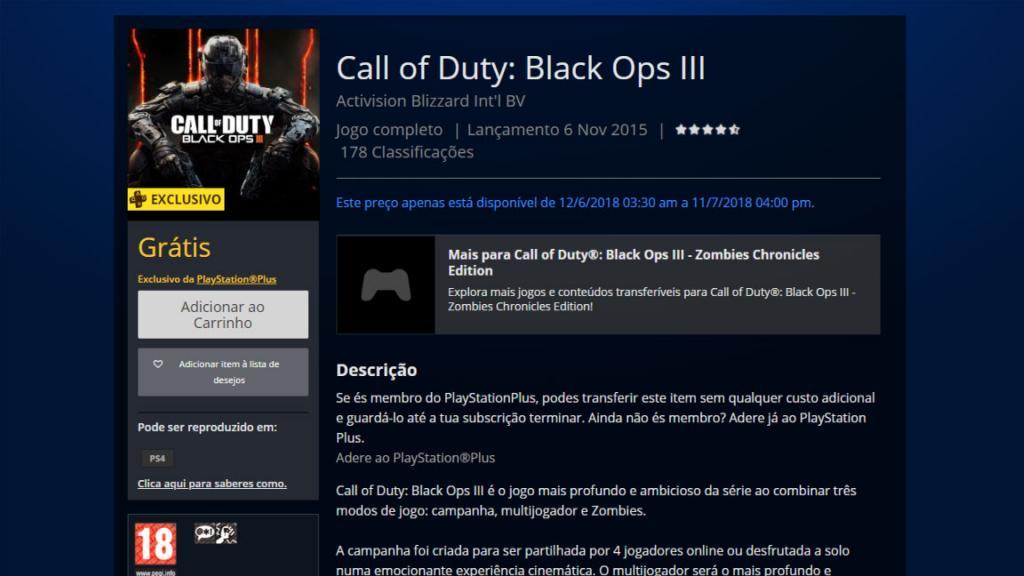 Black Ops 3 Grátis