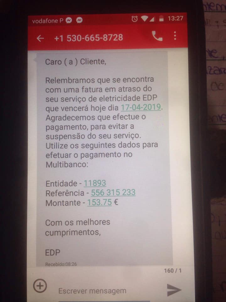 fraude edp sms