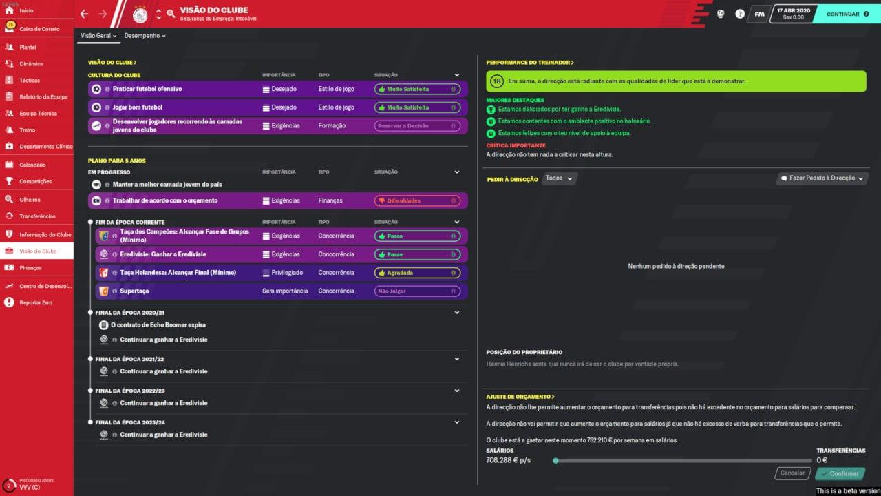 Football Manager 2020 - Visão do Clube
