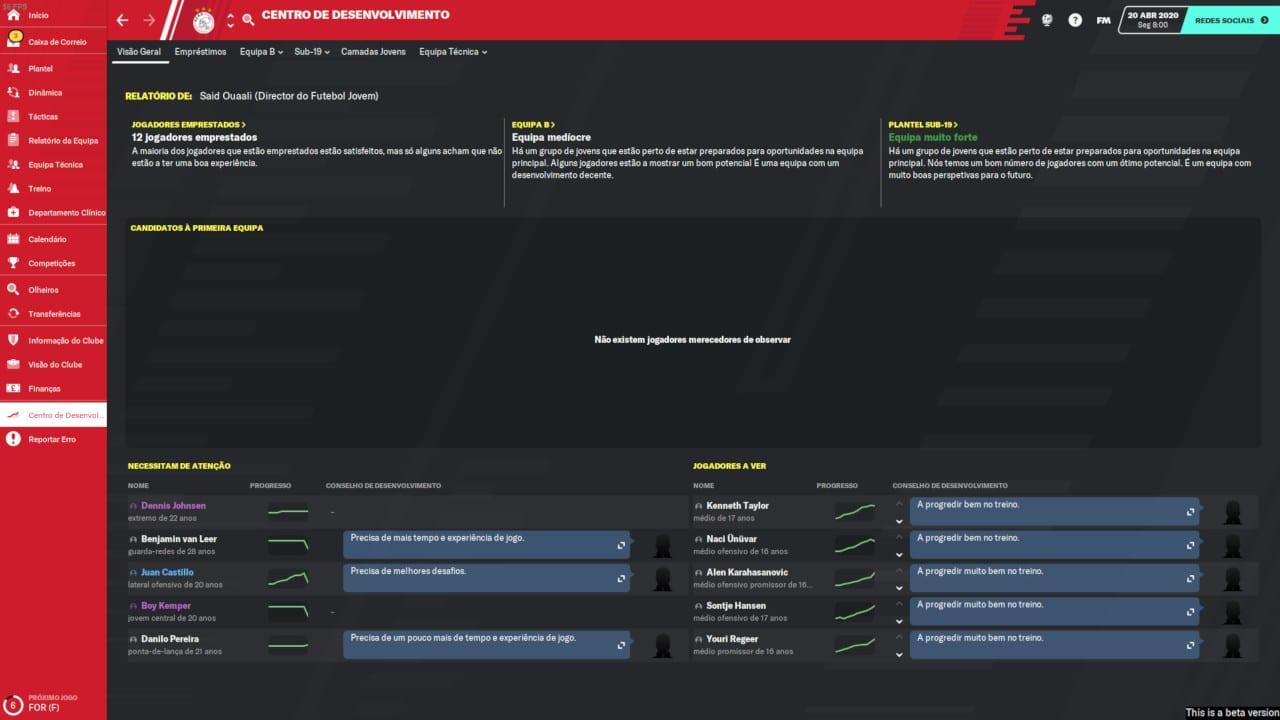 Football Manager 2020 - Centro de Desenvolvimento
