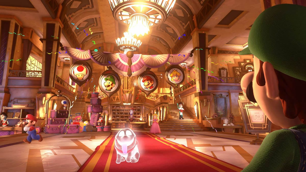 Visuais em Luigi's Mansion 3