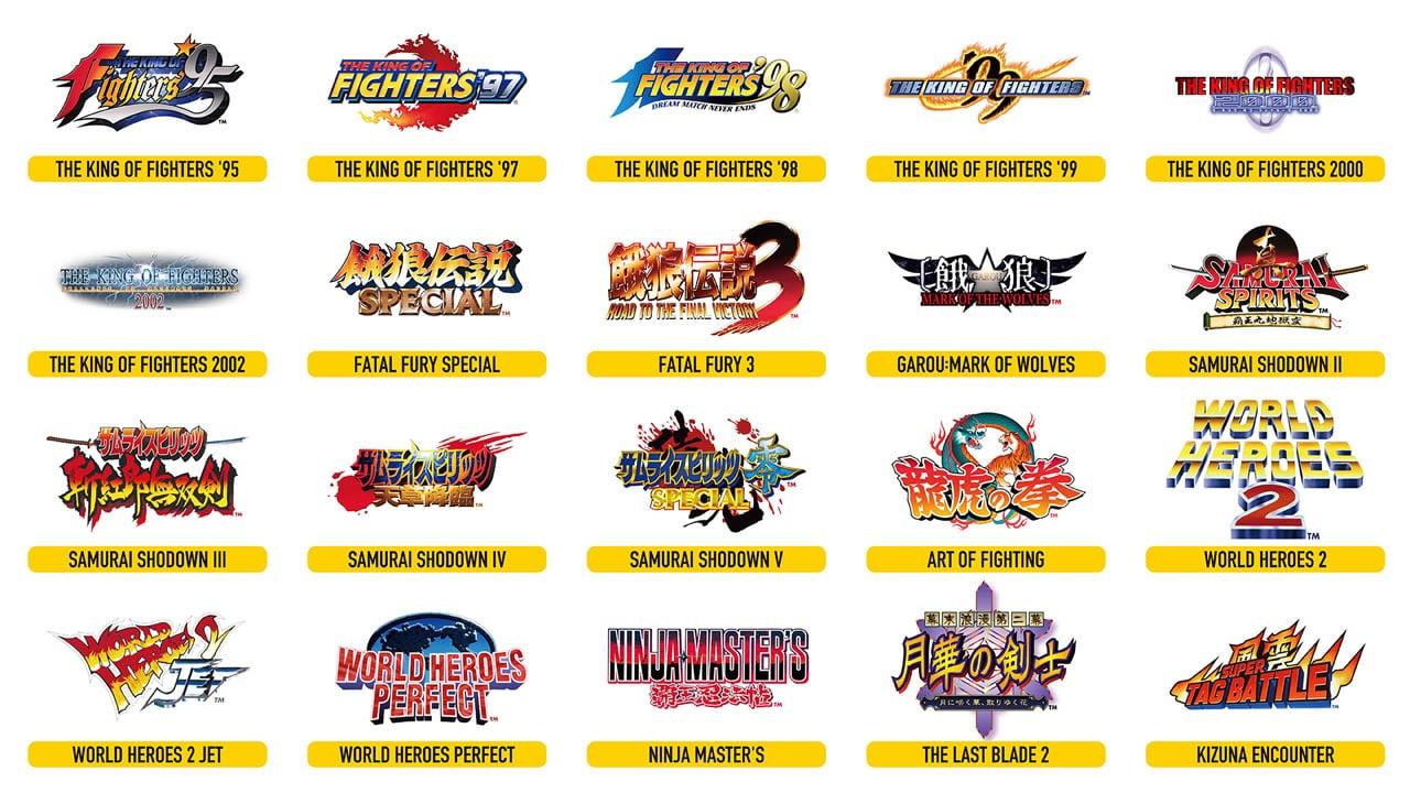 Lista de jogos do NEOGEO Arcade Stick Pro