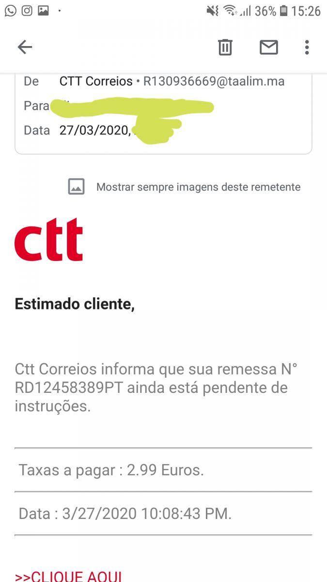 ctt emails falsos