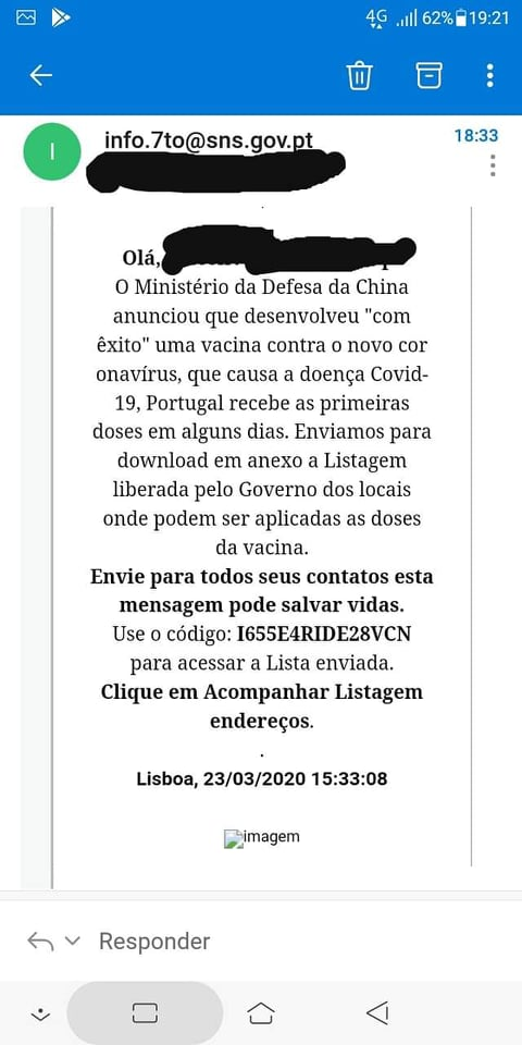 email falso sns
