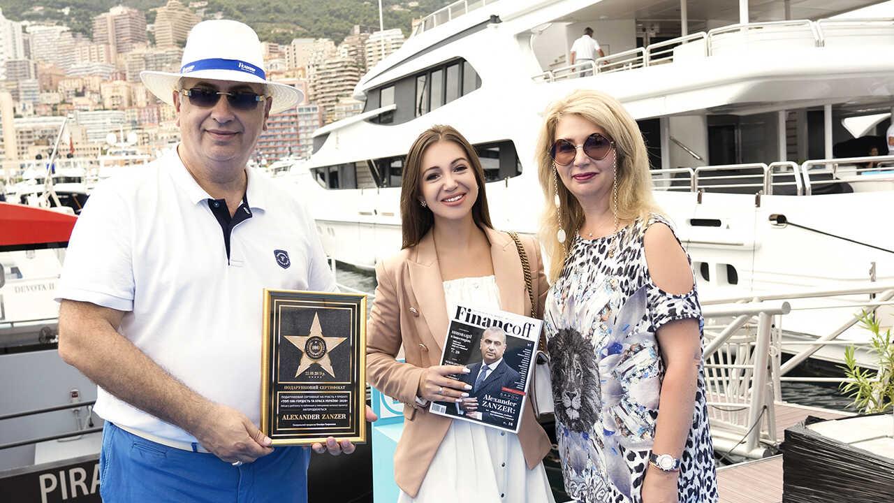 Elvira Gavrilova com o Barão belga Alexander Zanzer, empresário, produtor, ex-cônsul honorário da Mongólia na Bélgica, consultor diplomático, e a sua esposa. (Monaco, Yacht Show)