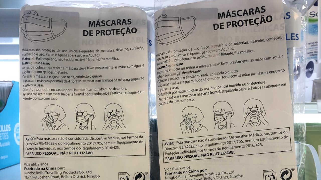 máscaras higiénicas descartáveis