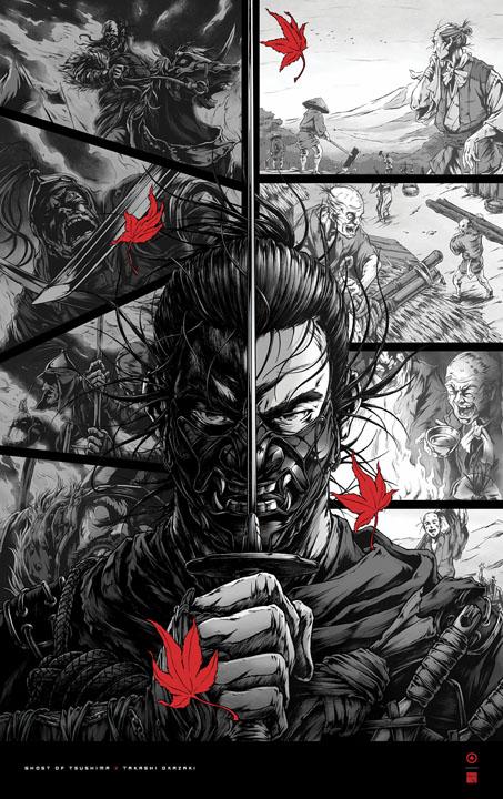 ghost of tsushima takashi okazaki poster 1