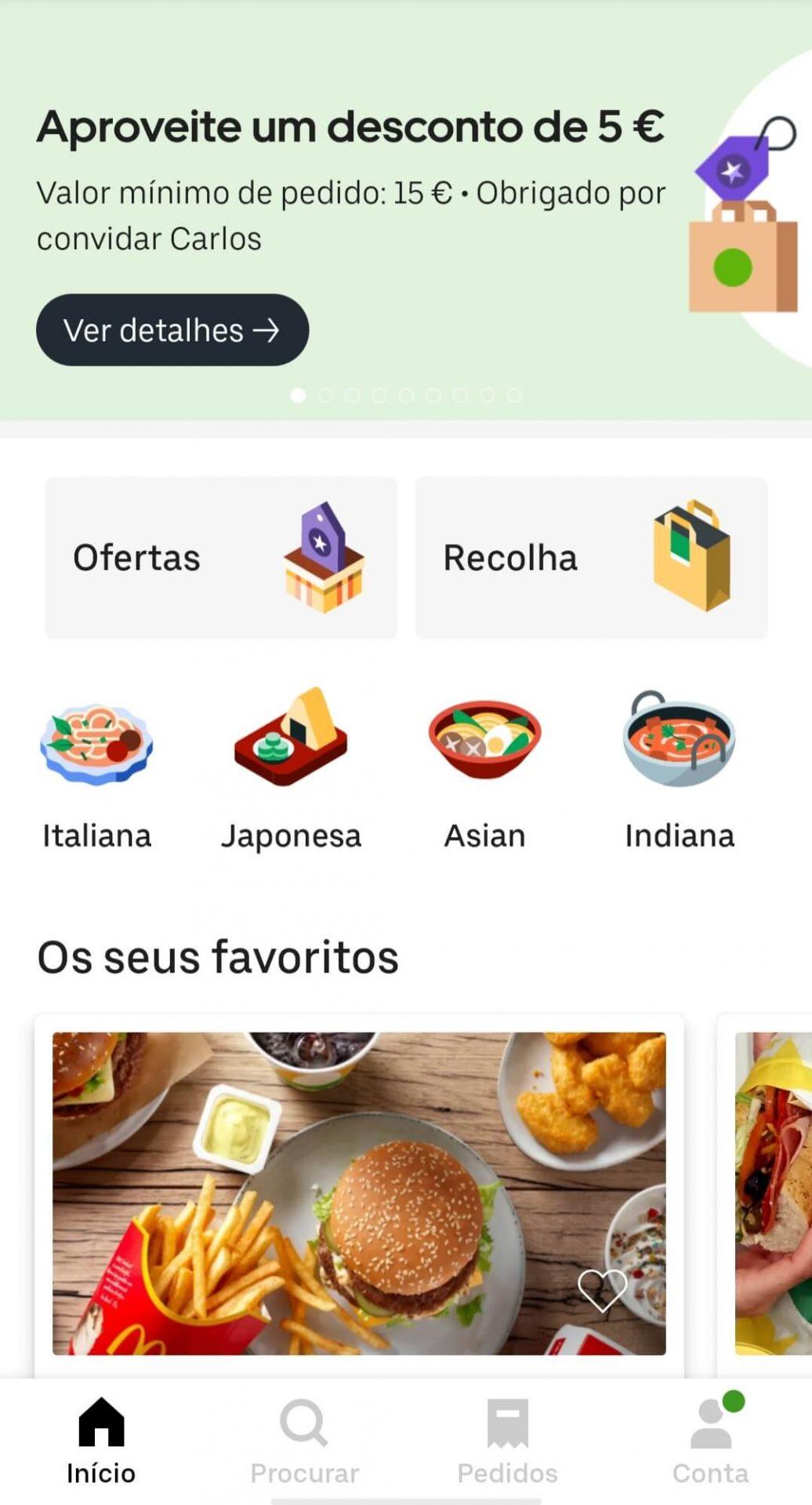 uber eats recolha