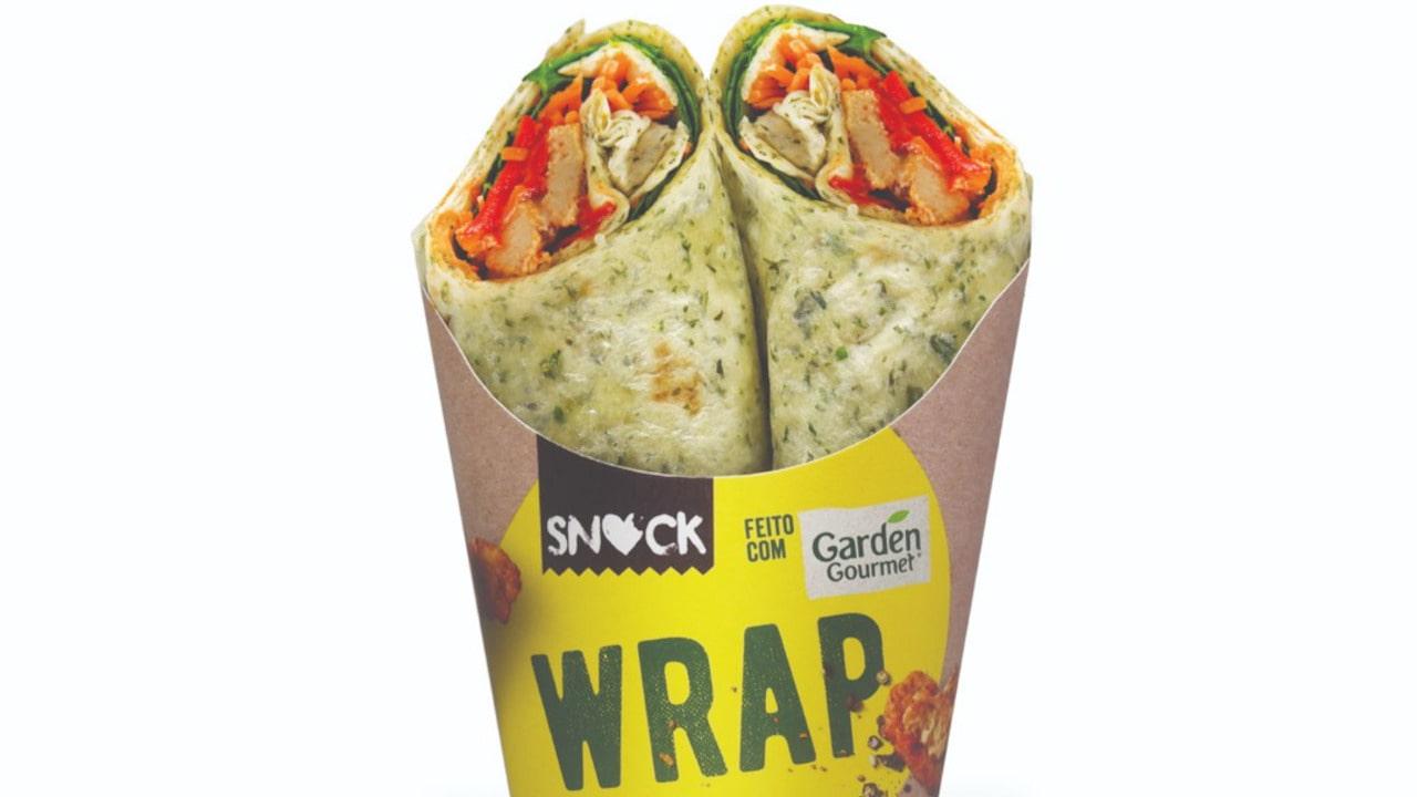 wrap snock feito com garden gourmet